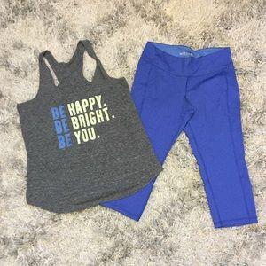 💪GYM SET grey fitness tank and blue capri pants
